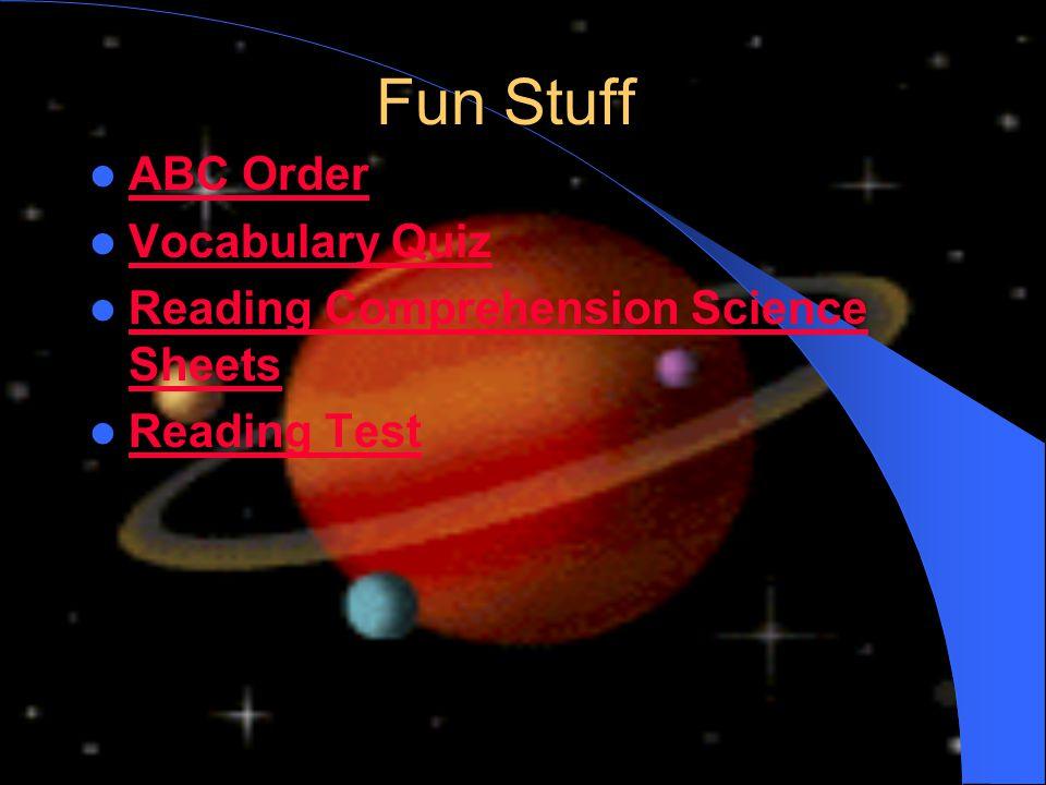 Fun Stuff ABC Order Vocabulary Quiz