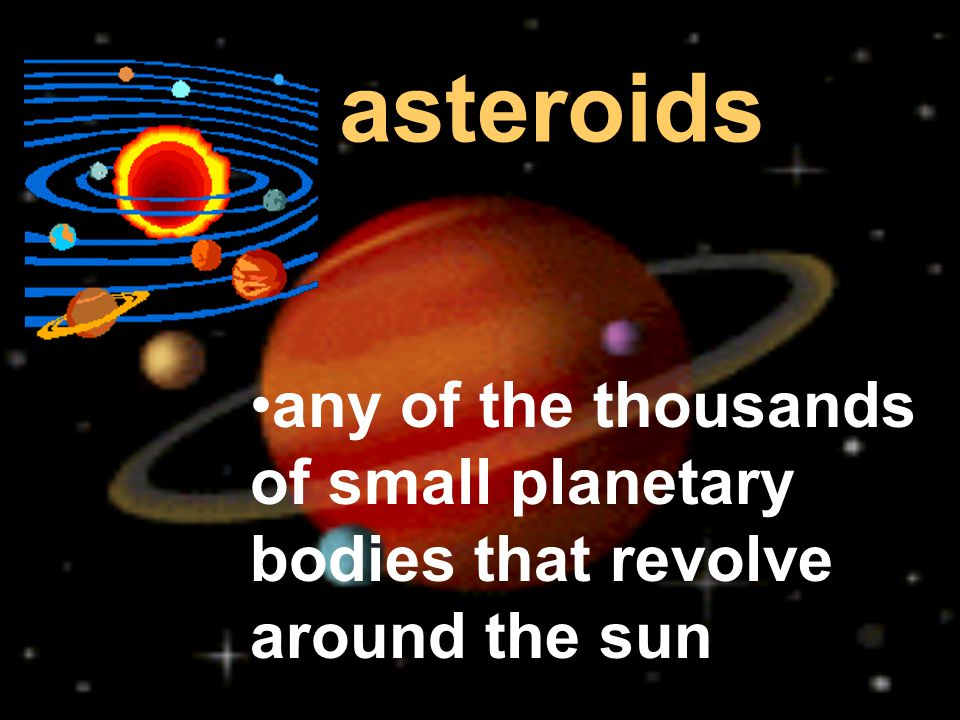 asteroids any of the thousands of small planetary bodies that revolve around the sun