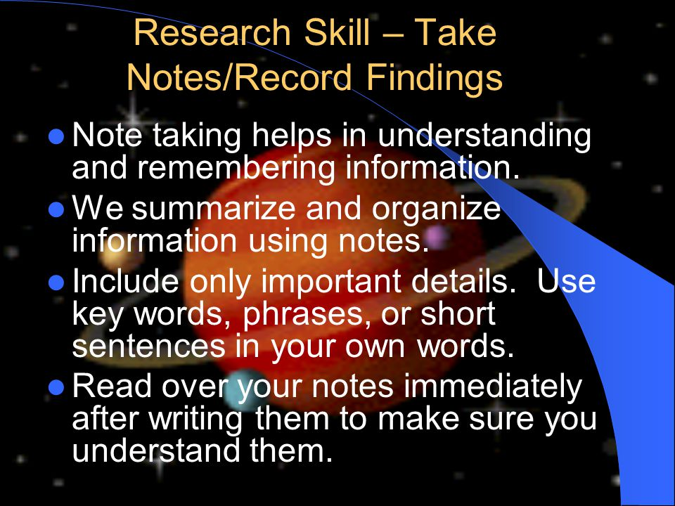 Research Skill – Take Notes/Record Findings