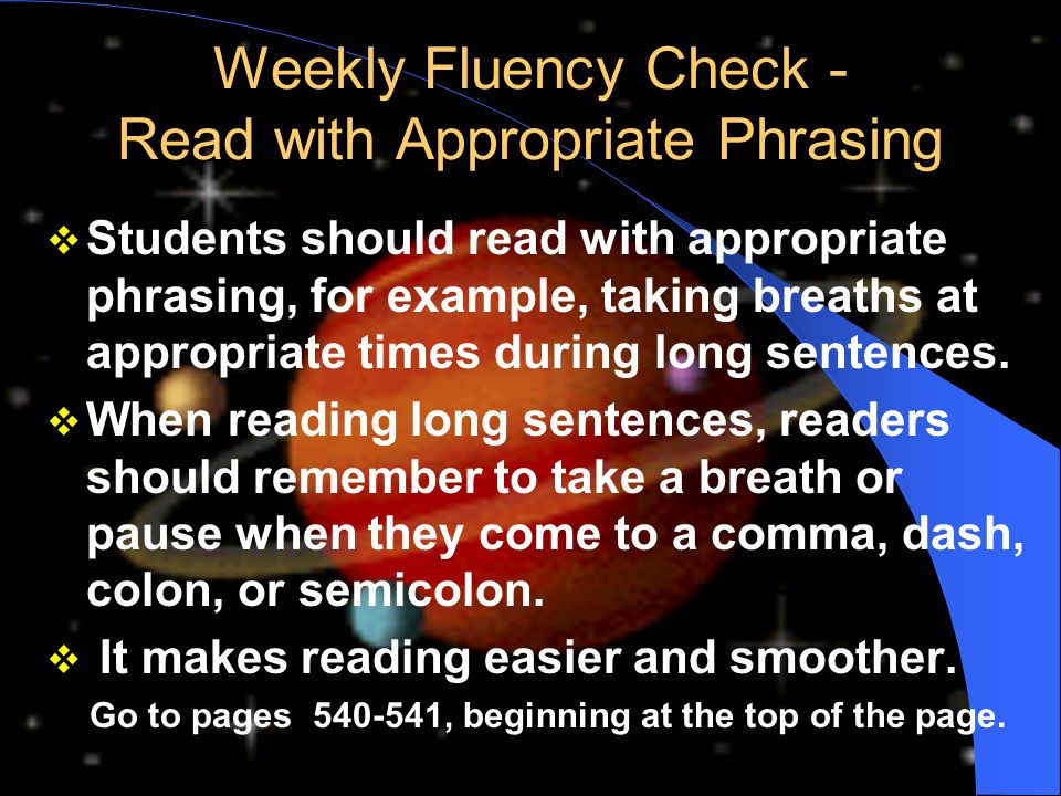 Weekly Fluency Check - Read with Appropriate Phrasing