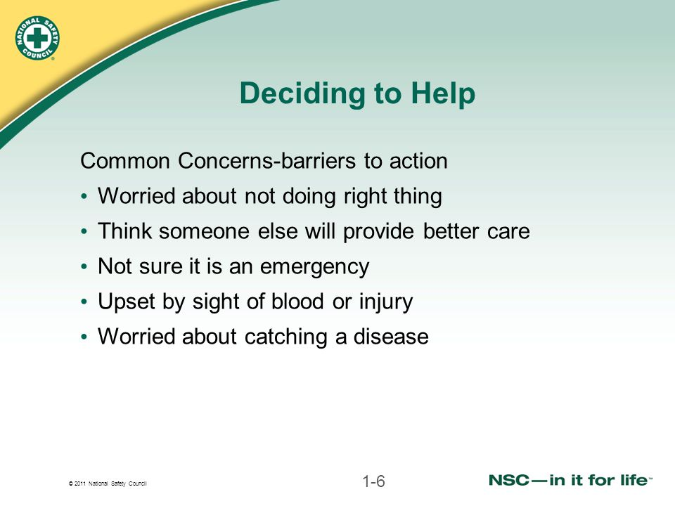 Deciding to Help Common Concerns-barriers to action