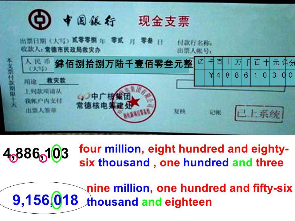 銉佰捌拾捌万陆千壹佰零叁元整 亿. 千. 百. 十. 万. 元. 角. 分. ¥ 4. 8. 6. 1. 3. four million, eight hundred and eighty-six thousand , one hundred and three.