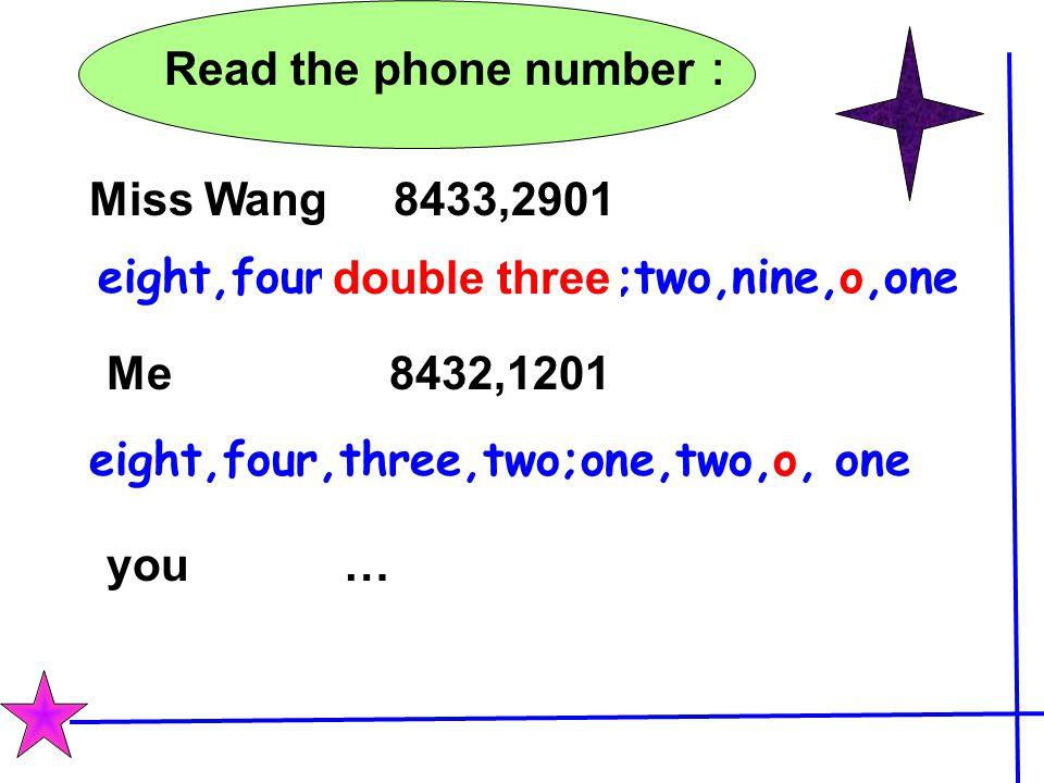 Read the phone number: Miss Wang 8433,2901. eight,four,three,three;two,nine,o,one. double three.
