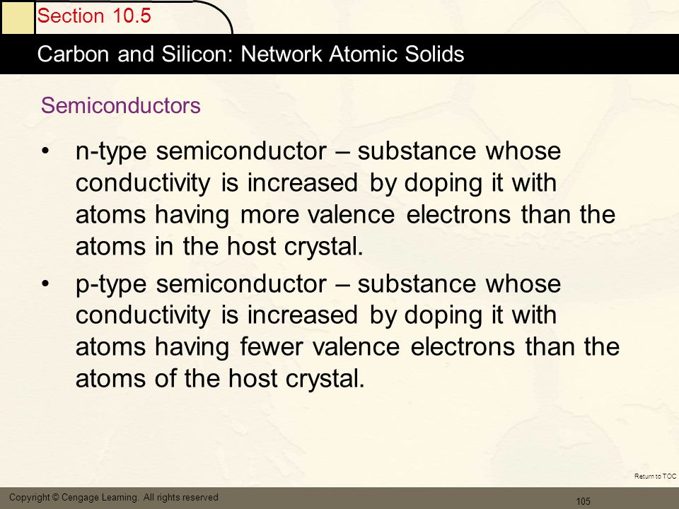 Section 10.5 Carbon and Silicon: Network Atomic Solids. Semiconductors.