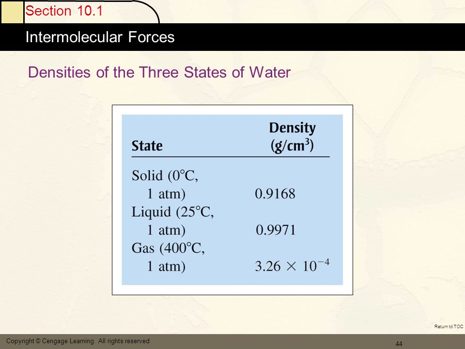 Densities of the Three States of Water