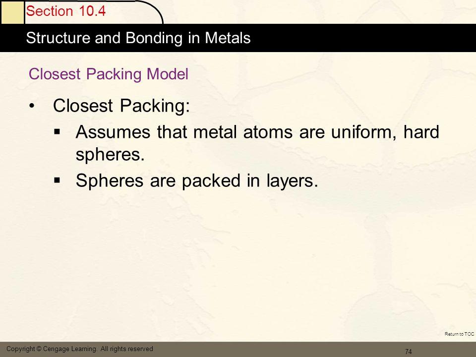 Assumes that metal atoms are uniform, hard spheres.