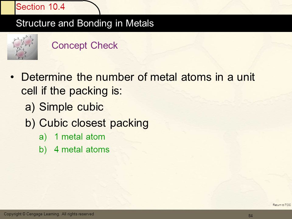 Determine the number of metal atoms in a unit cell if the packing is:
