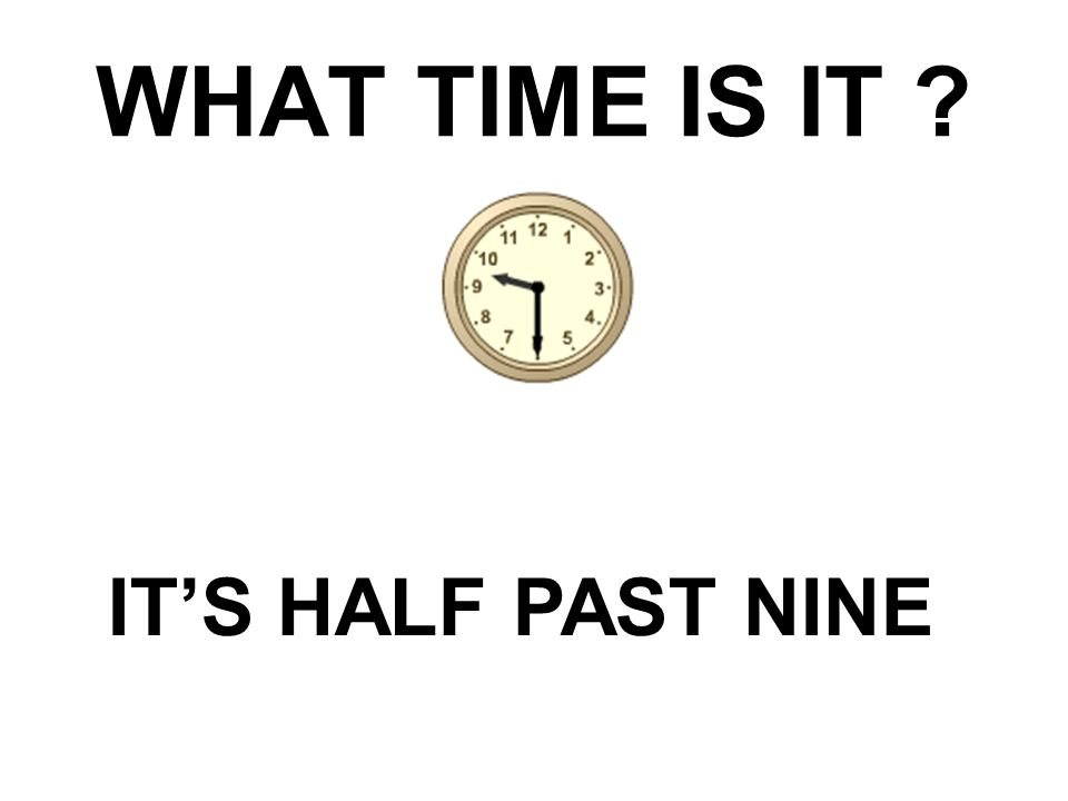 WHAT TIME IS IT IT'S HALF PAST NINE