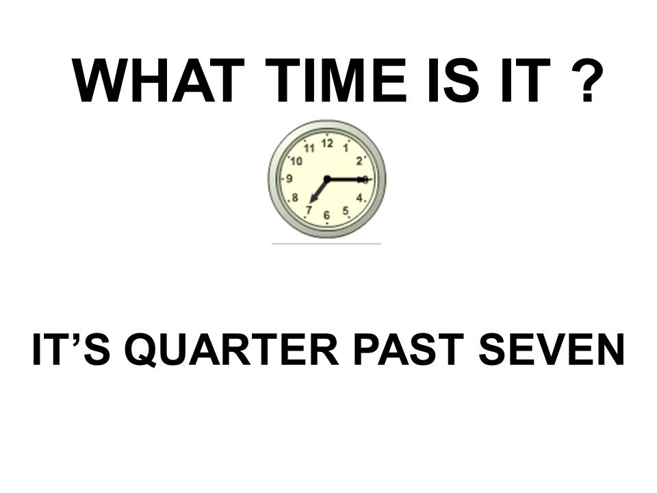 IT'S QUARTER PAST SEVEN