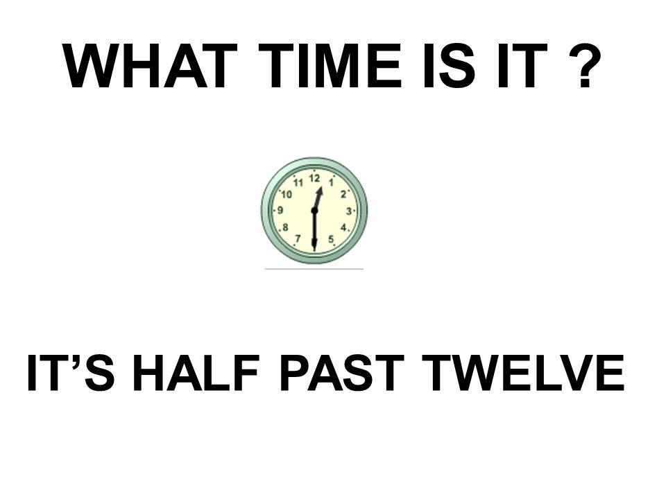 WHAT TIME IS IT IT'S HALF PAST TWELVE