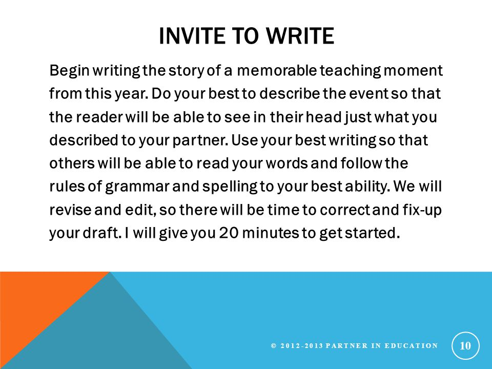 Invite to write