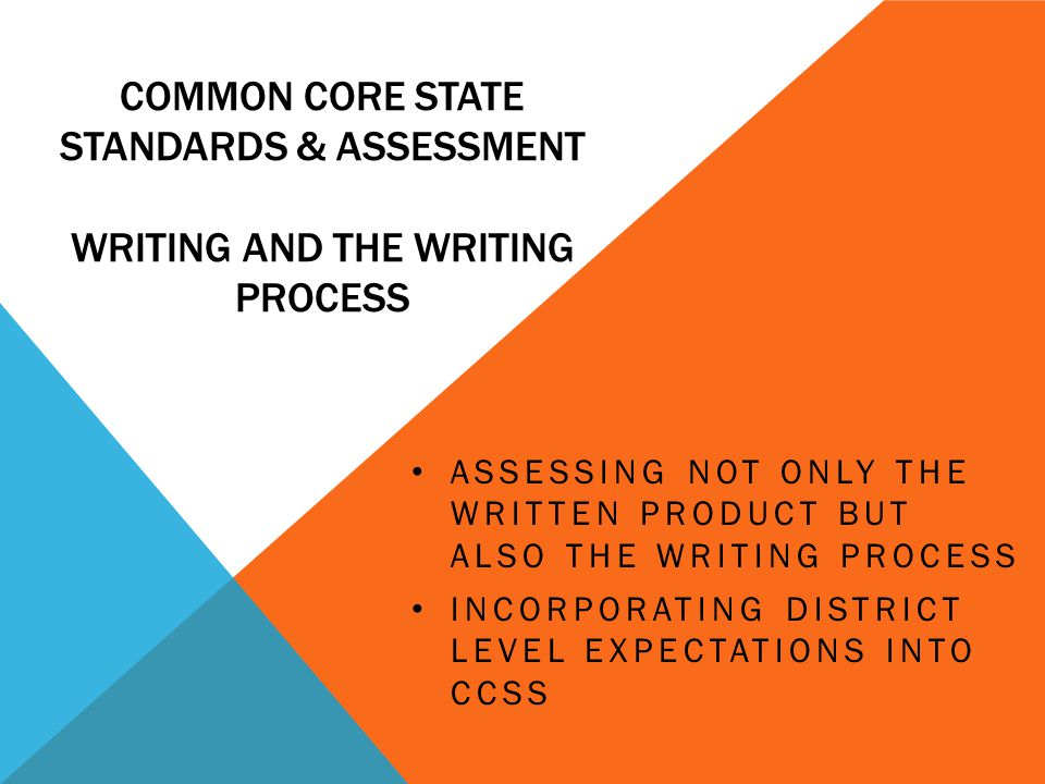Common core state standards & Assessment writing and the writing process