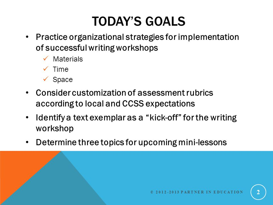 Today's Goals Practice organizational strategies for implementation of successful writing workshops.