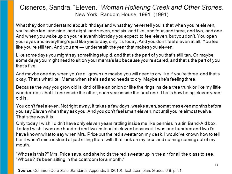 Cisneros, Sandra. Eleven. Woman Hollering Creek and Other Stories