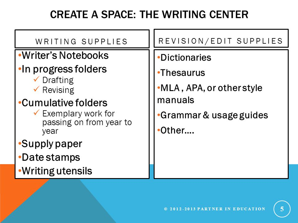 Create a space: the writing center