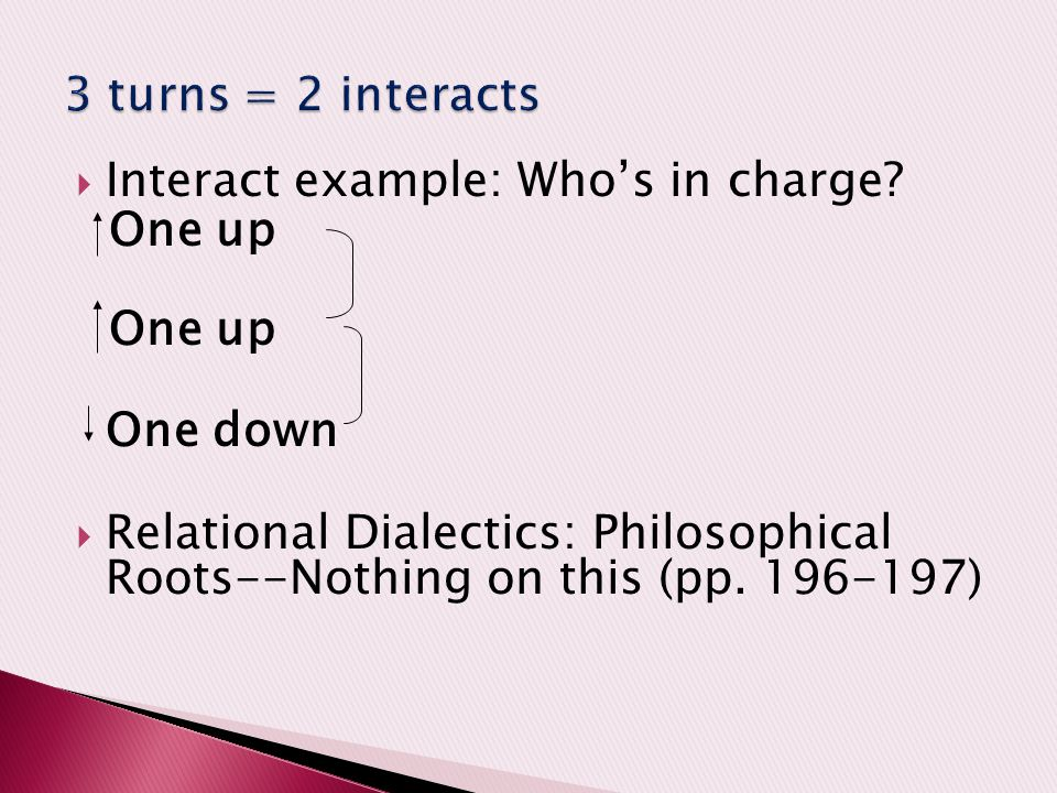 3 turns = 2 interacts Interact example: Who's in charge One up. One down.