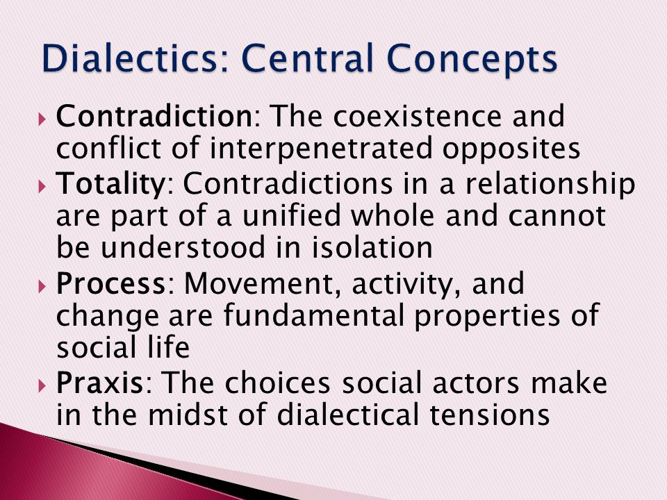 variety of dialectical tensions You have dialectical tension when your worldview implies two contradictory, or at least competing, ways of thinking about a given topic with no real way to resolve the problem within your.