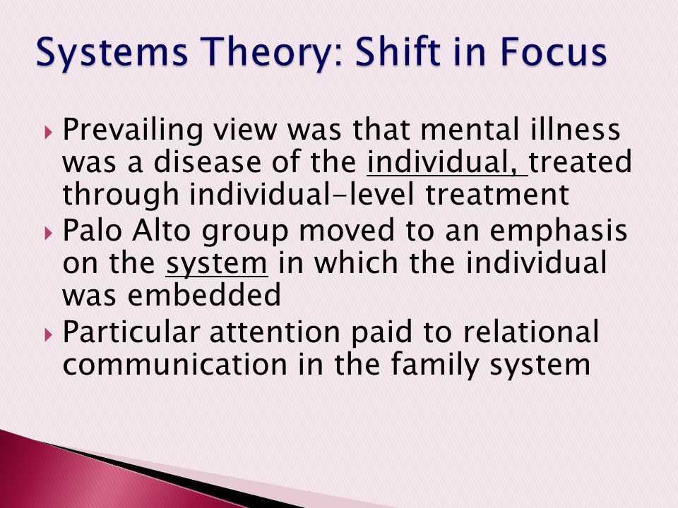 Systems Theory: Shift in Focus
