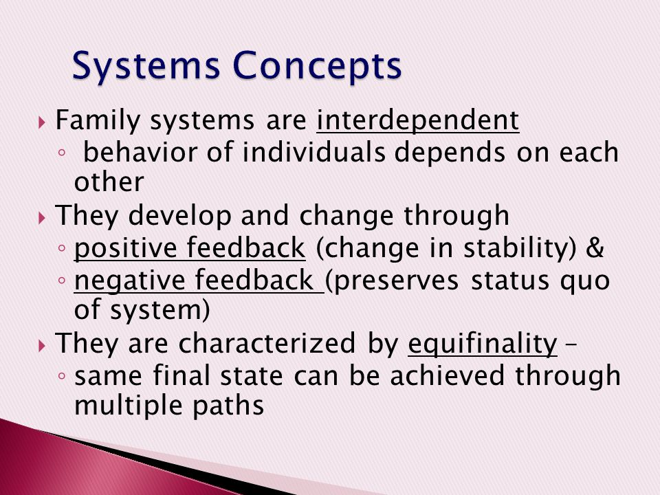 Systems Concepts Family systems are interdependent
