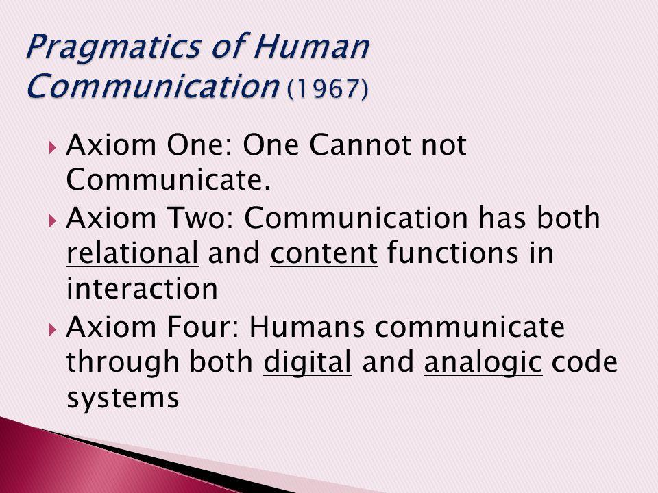 Pragmatics of Human Communication (1967)