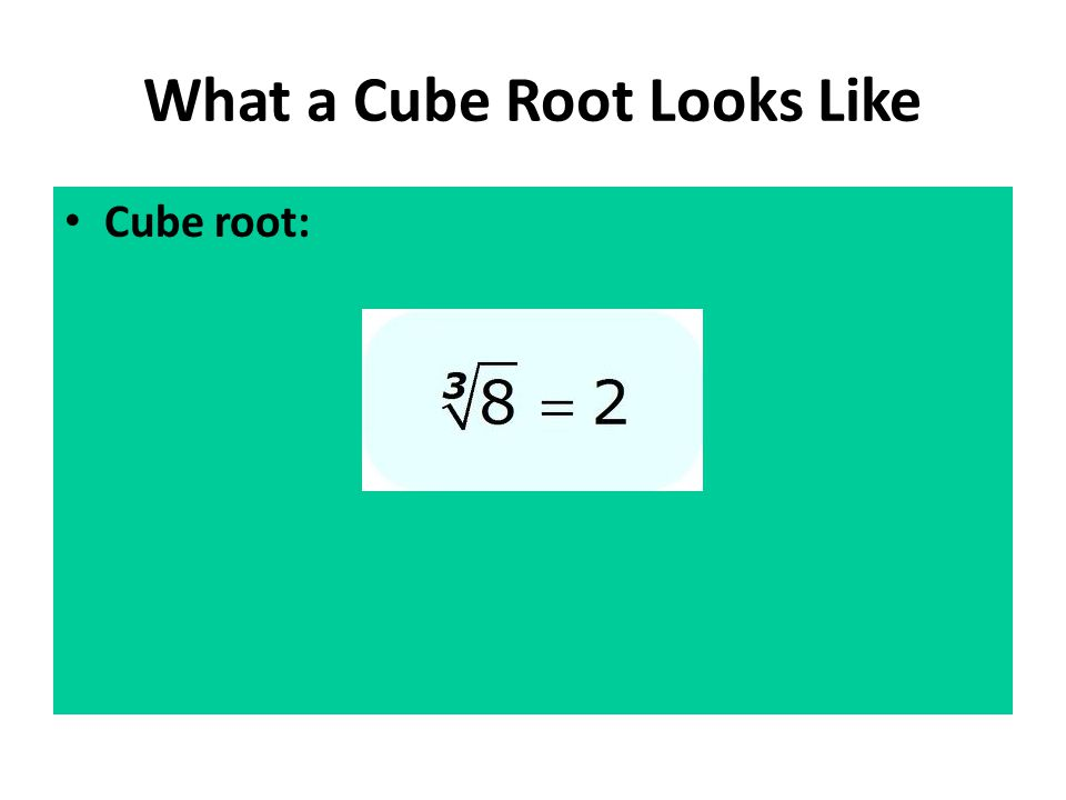 What a Cube Root Looks Like