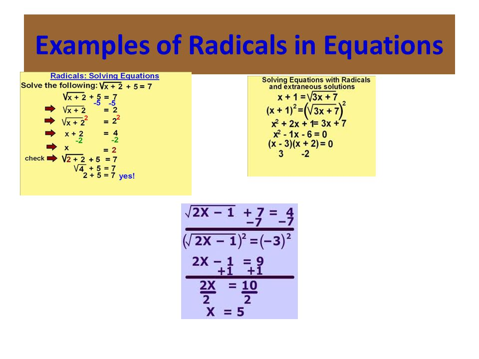 Examples of Radicals in Equations