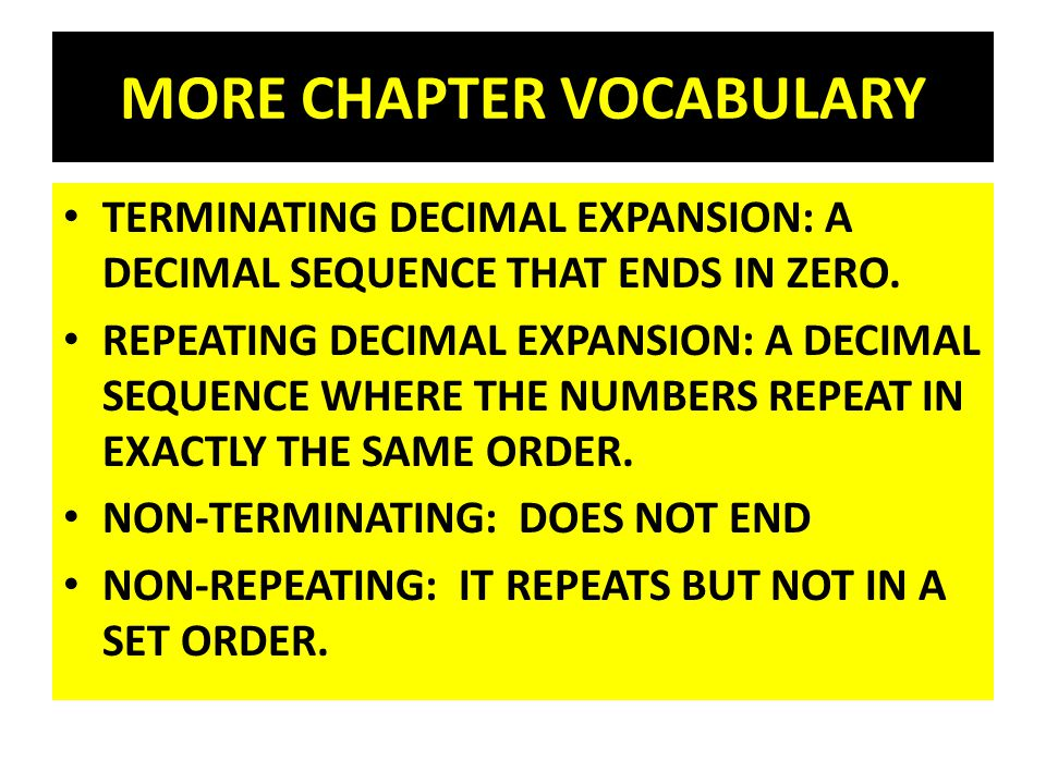MORE CHAPTER VOCABULARY