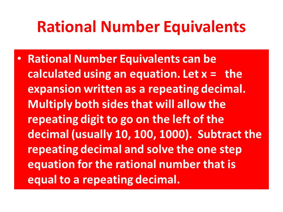 Rational Number Equivalents