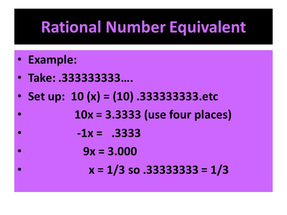 Rational Number Equivalent