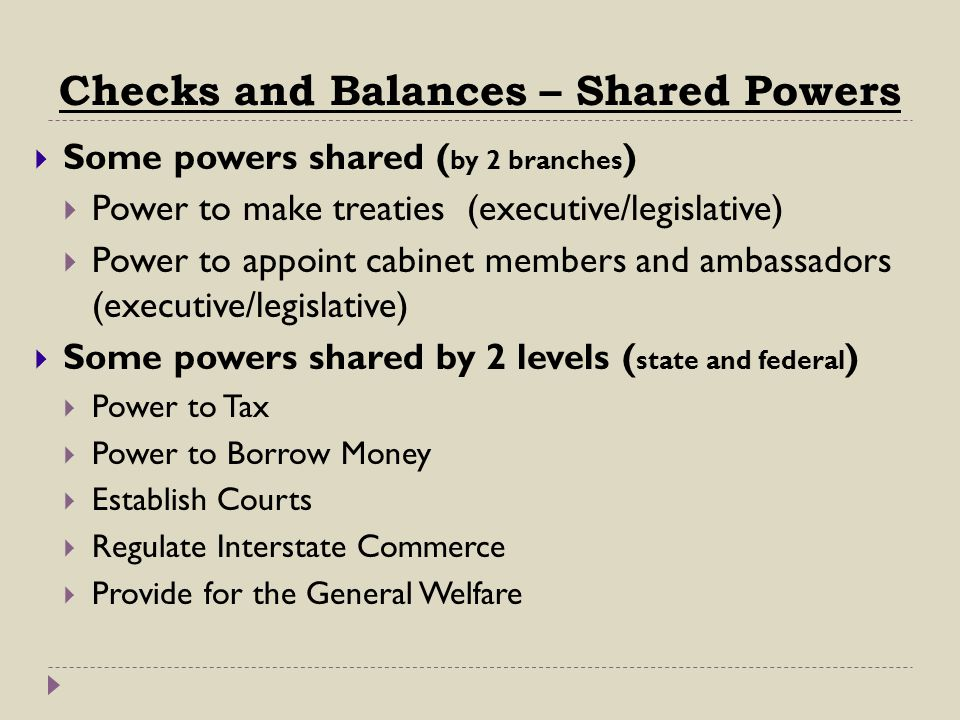 Checks and Balances – Shared Powers
