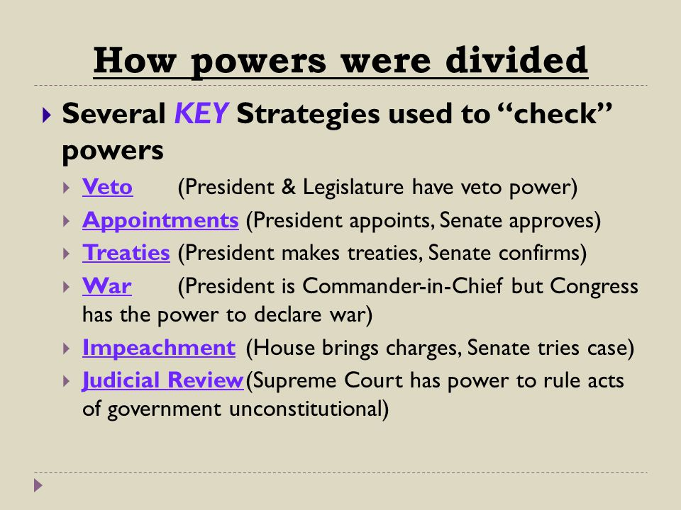 How powers were divided