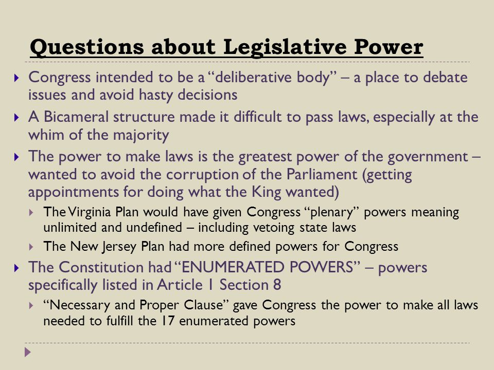 Questions about Legislative Power