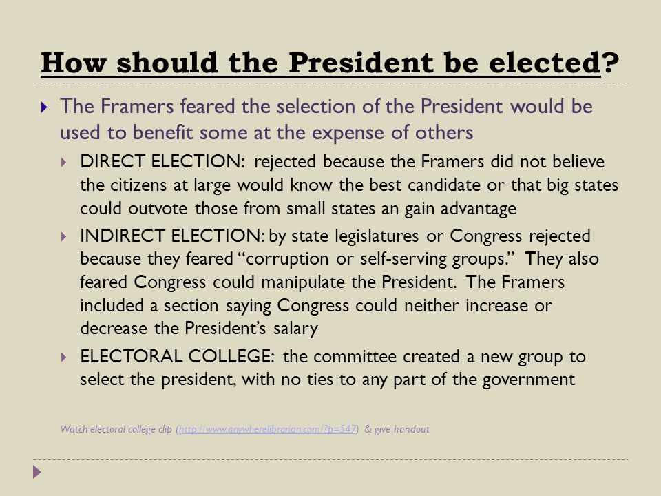 How should the President be elected