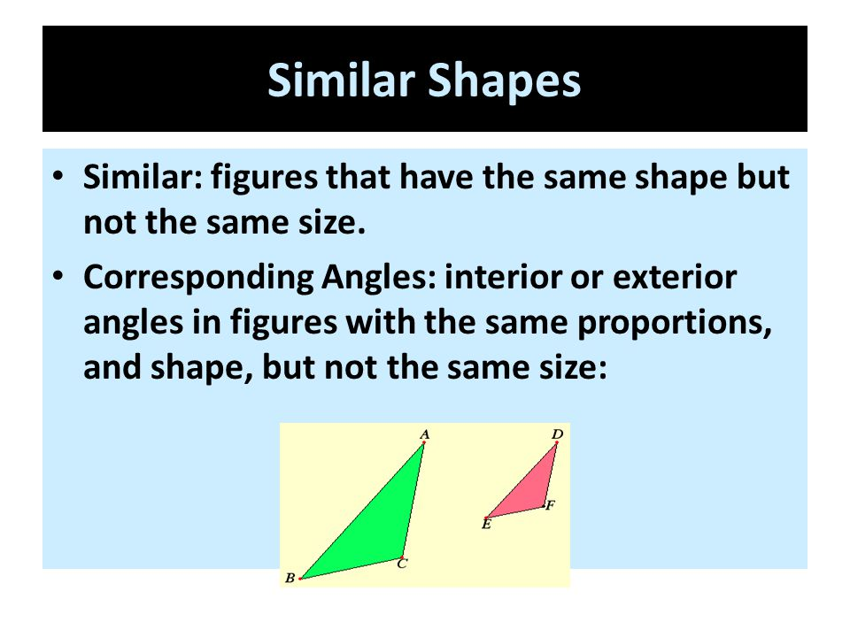Similar Shapes Similar: figures that have the same shape but not the same size.