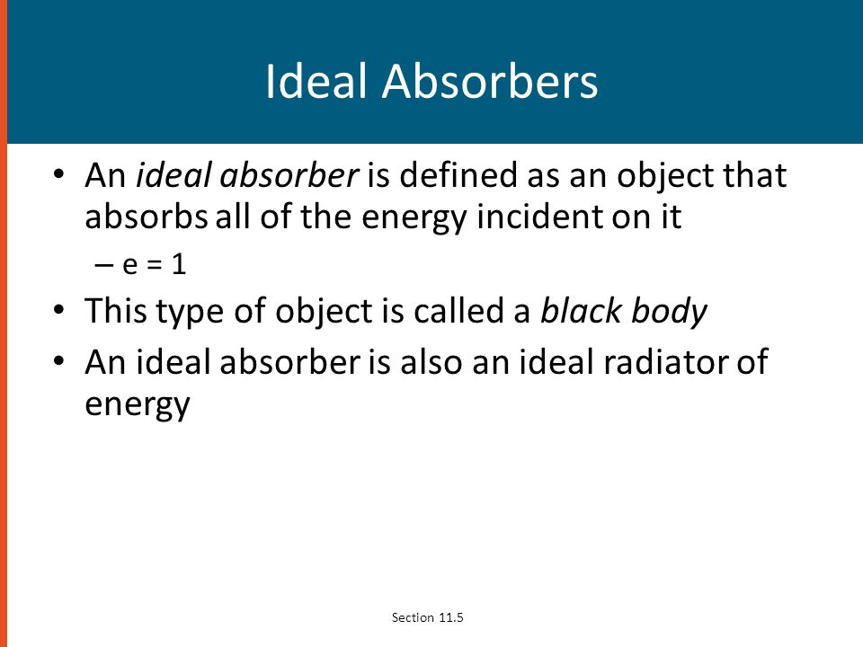 Ideal Absorbers An ideal absorber is defined as an object that absorbs all of the energy incident on it.