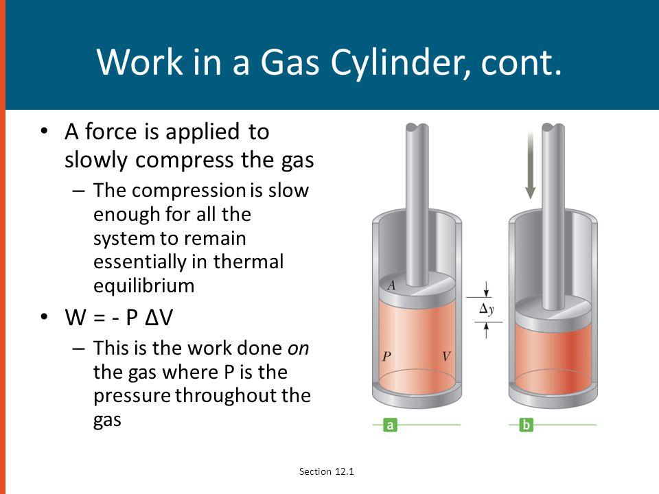 Work in a Gas Cylinder, cont.