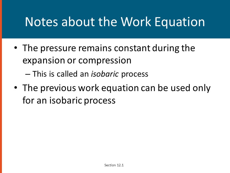 Notes about the Work Equation