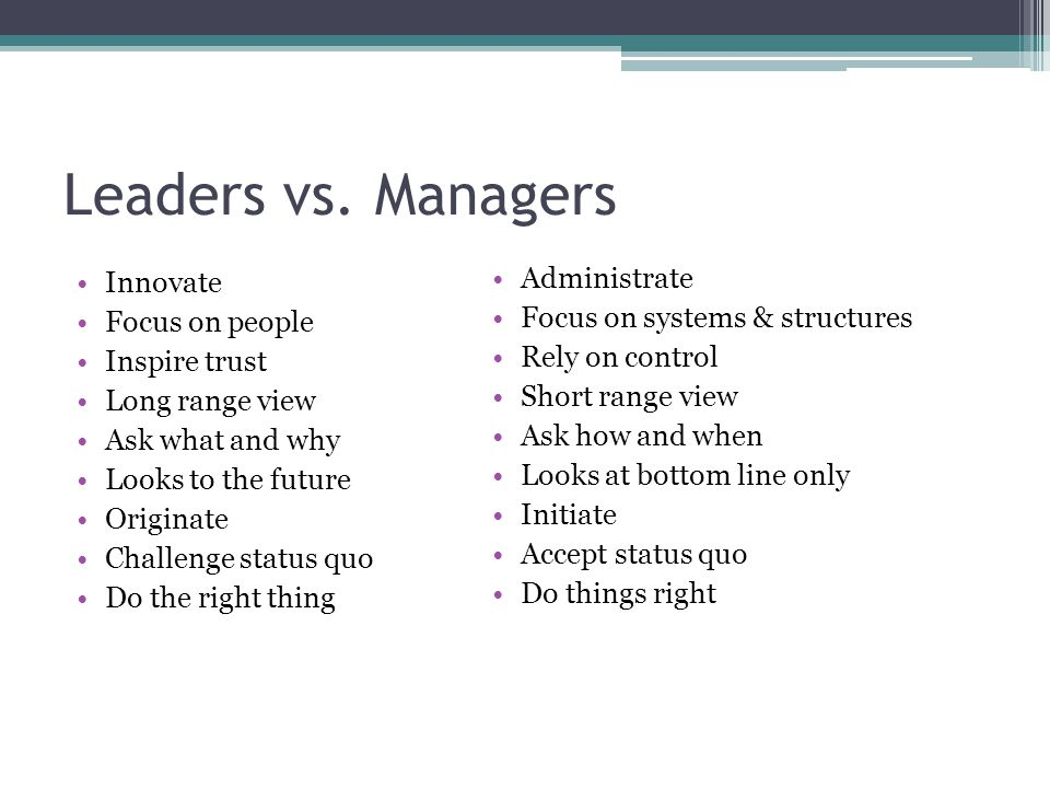 Leaders vs. Managers Administrate Innovate