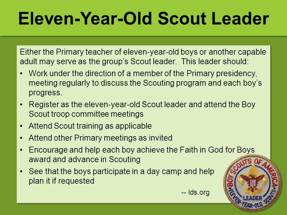 Eleven-Year-Old Scout Leader