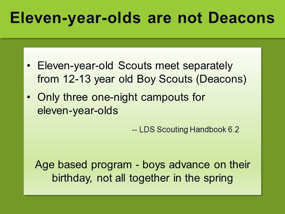 Eleven-year-olds are not Deacons