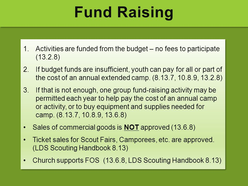 Fund Raising Activities are funded from the budget – no fees to participate (13.2.8)