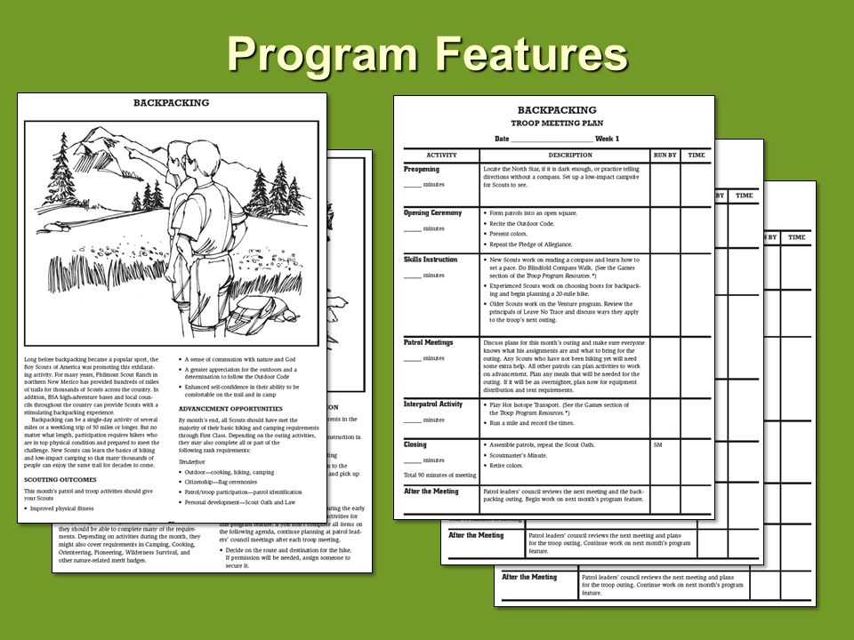 Program Features Rich Backpacking program – includes: