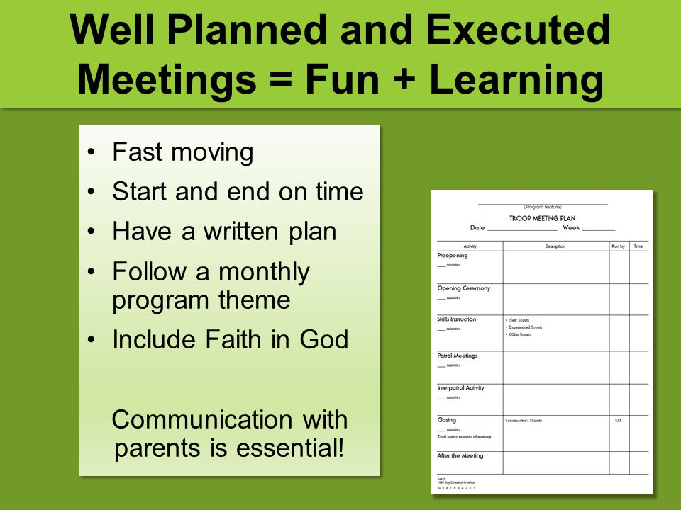 Well Planned and Executed Meetings = Fun + Learning