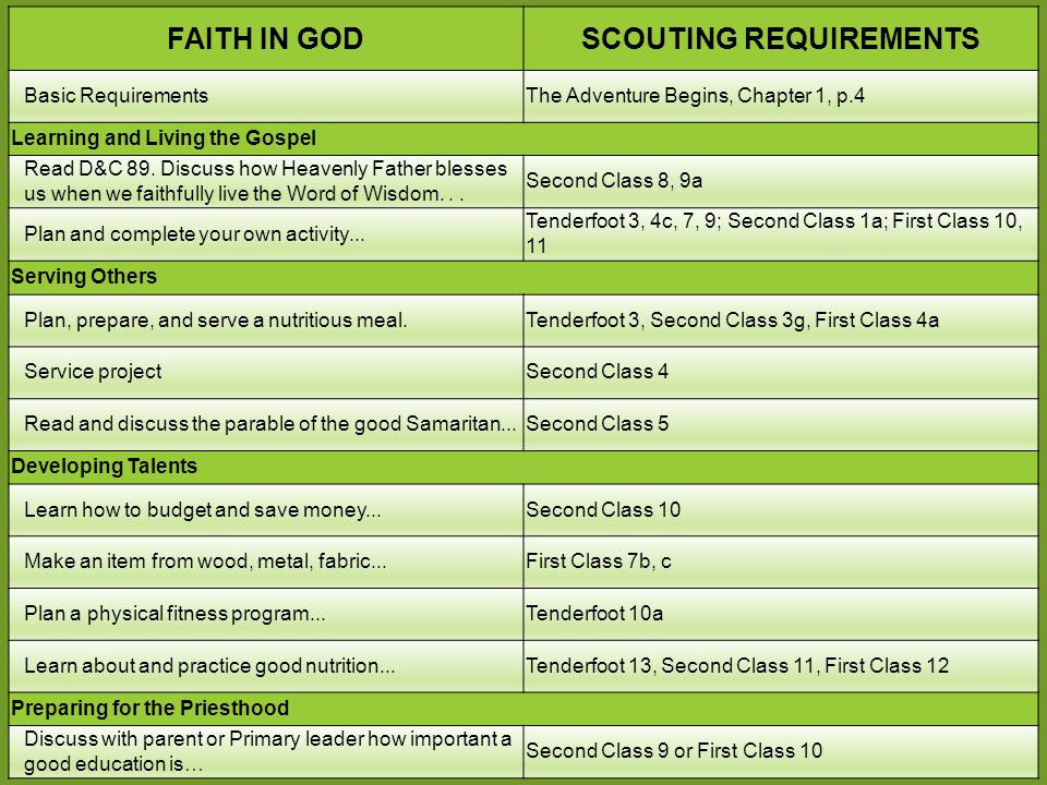 Scouting requirements