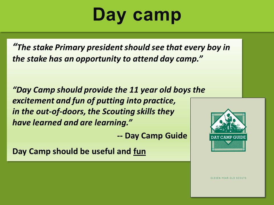 Day camp The stake Primary president should see that every boy in the stake has an opportunity to attend day camp.