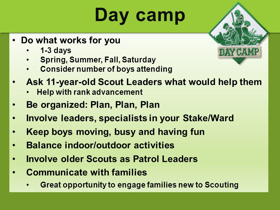 Day camp Do what works for you