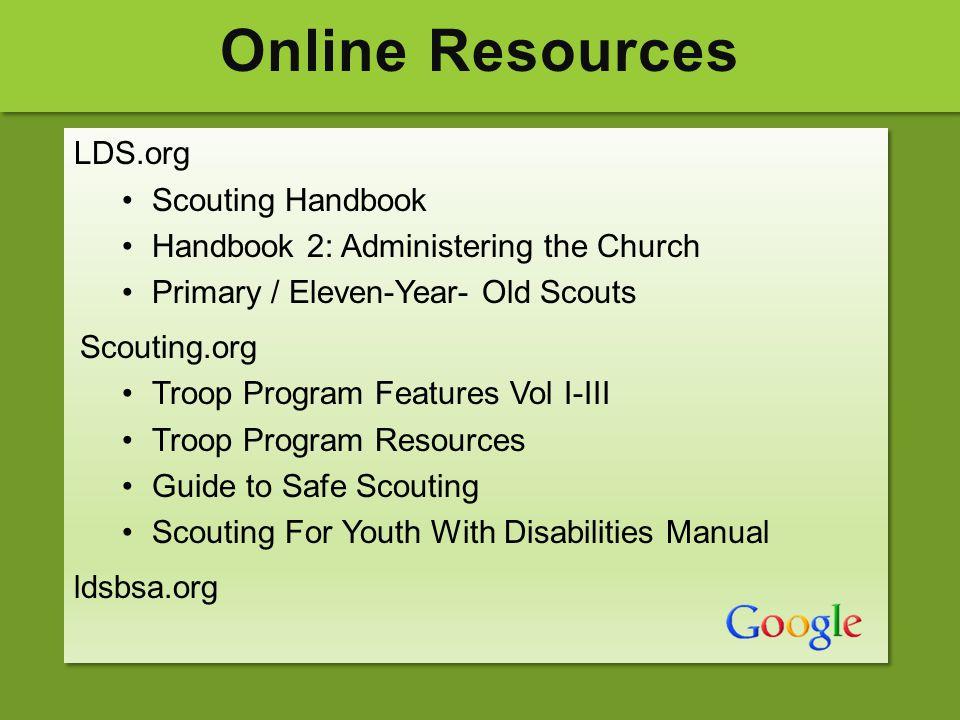Online Resources LDS.org Scouting Handbook