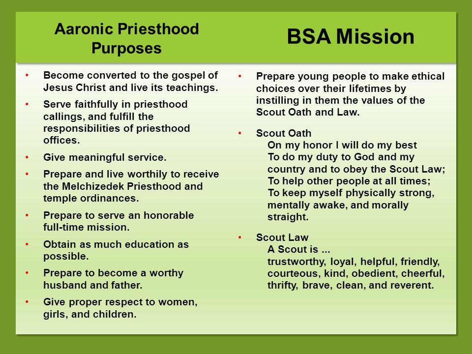 Aaronic Priesthood Purposes
