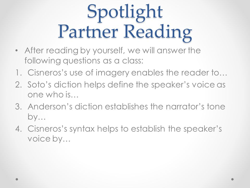Spotlight Partner Reading