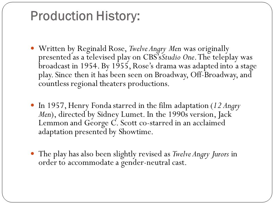 Production History: